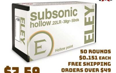 Ammo InStock: Eley, .22LR Subsonic, HP, 38 Grain, 50 Rounds $7.59 FREE S&H on 7orMore
