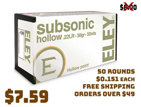 Eley, .22LR Subsonic, HP, 38 Grain, 50 Rounds Deal