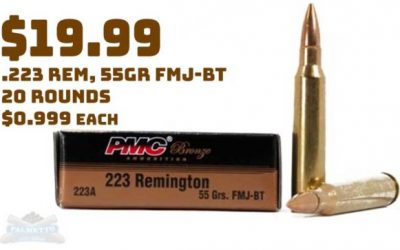 Ammo InStock: PMC Bronze .223 Remington 55GR FMJ 20rnd Box $19.99 No Purchase Limits