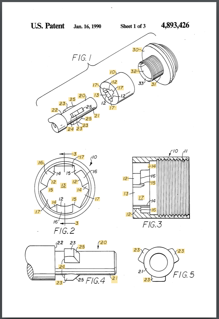 Lugged Coupling Apparatus - US Patent US4893426A