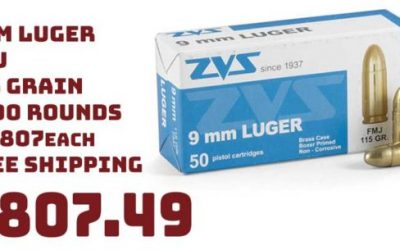 Ammo InStock: ZVS, 9mm Luger, FMJ, 115 Grain, 1,000 Rounds $807.49 FREE S&H