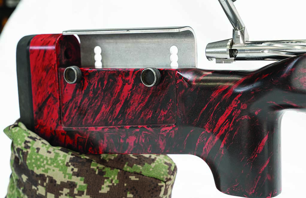 The McMillan ELR Beast fiberglass stock features an incredibly adjustable cheek piece to accommodate adjustable and fixed scope bases that add several hundred minutes of additional elevation.