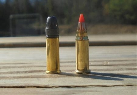 .22 Long Rifle next to .17 Mach 2.