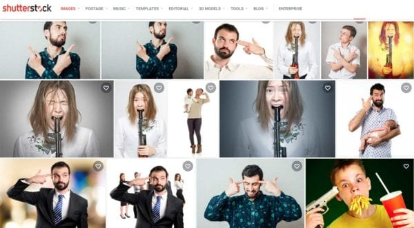 ShutterStock Images Fails at Gun Safety Screen Grab 7-8-2021 suicide