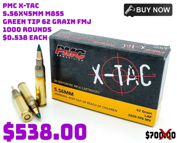 PMC X-TAC 5.56x45mm M855 Green Tip 62 Grain FMJ 1000 Rounds Sale sept2021